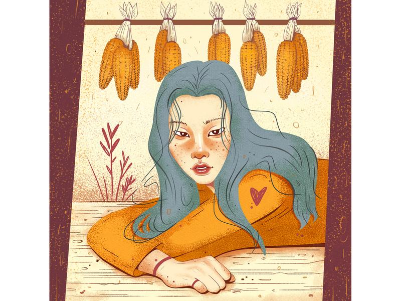corn portrait asian girl illustration