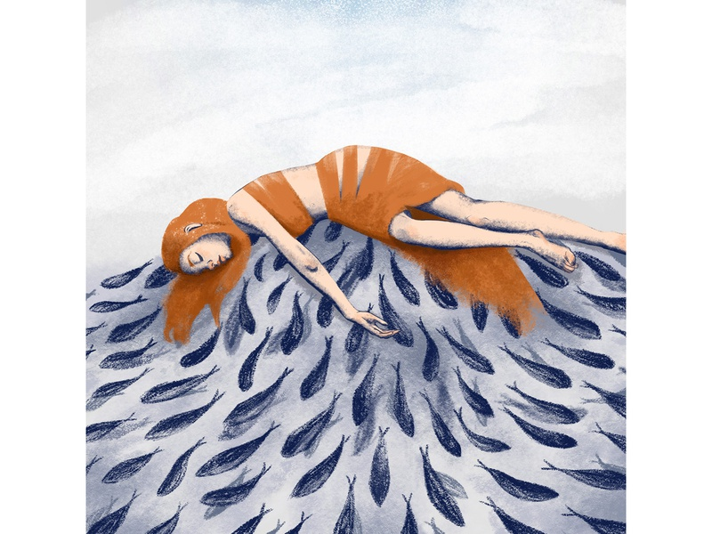 Girl on the pile of fish illustration fish girl