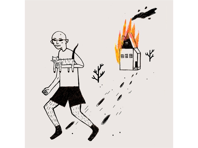 Your Ex funny fire illustration