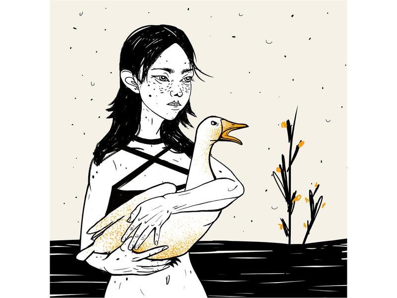 Girl With Goose goose portrait illustration asian girl