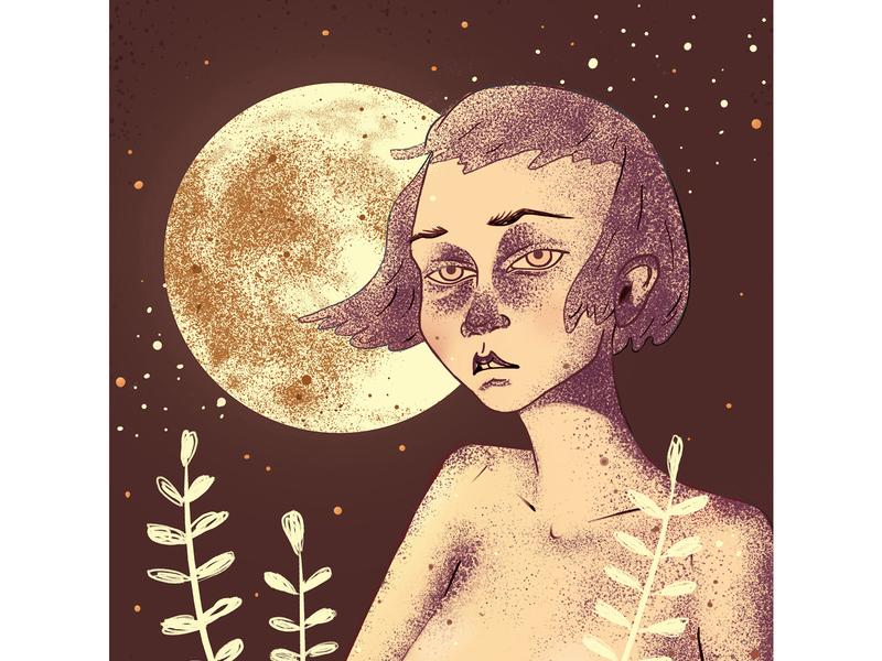 Moon Girl illustration moon portrait asian girl