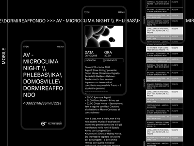 Mobile navigation for Argo16 avantgarde cultural music art music app ux graphic design webdesign