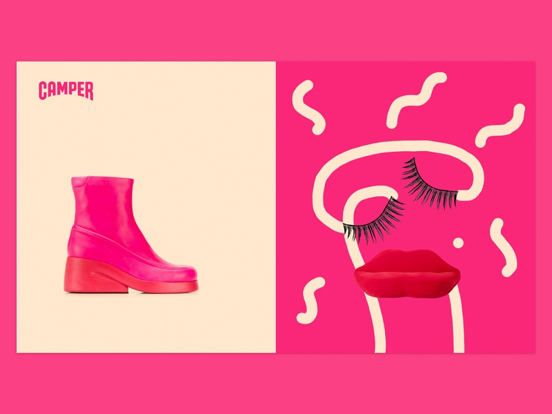 How would be the person thought by a shoe? shoe camper art direction illustration