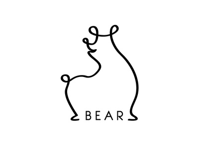 Bear animal logo line weight line quality illustrator continuous line one line illustration line drawing bear drawing