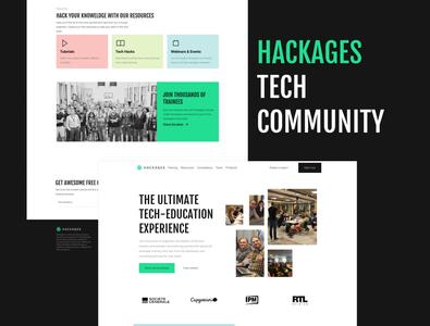 Hackages.io Website design Second DS iteration programming technology developer community website marketing landingpage ed-tech