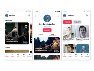Musican social media app design version 3 website flat animation vector app minimal identity branding ui design
