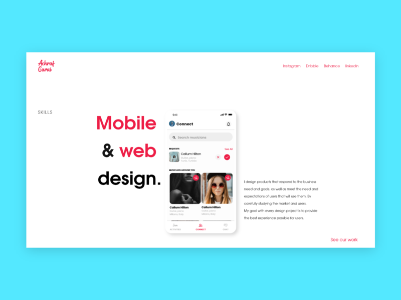 Personal website page design design ux typography website web minimal identity branding ui
