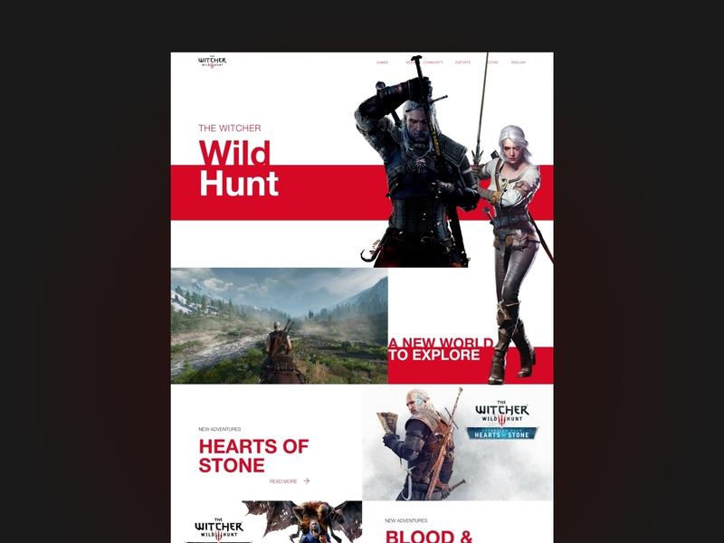 The witcher wild hunt website design fantasy game gaming website web minimal ui design
