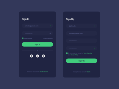 Sign In & Sign Up Page For Mobile App (Dark Version)