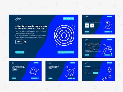 Dups - Onboarding Form navigation figma website branding animation space rocket planet calculator form