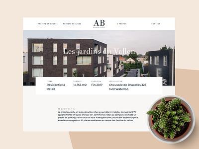 Case Study AB Real Estate logo minimal about branding figma website ui navigation header project realestate estate case study casestudy
