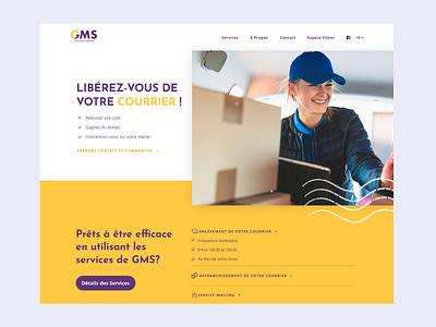 🤩 Homepage of GMS website navigation ux ui figma website branding purple yellow colors header homepage main page service mail