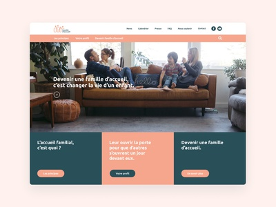 """""""Famille d'accueil"""" Website for foster family branding ux ui foster kids cards principes scroll persona navigation header website child family foster care foster figma"""