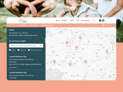 """Famille d'accueil"" - Map ""Find a Foster family"" colors interface ux website branding header foster kids foster care foster find maps contact filtering filters research reseau map"