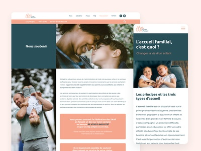 """Famille d'accueil"" - Content pages information design donation support how why pages text information content"