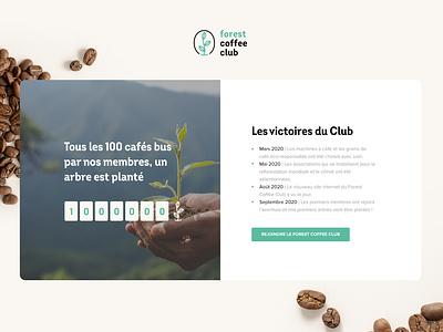 Forest Coffee club - The counter coffee bean bean trees tree coffee machine victory club timeline counter dailyui sustainability sustainable coffee