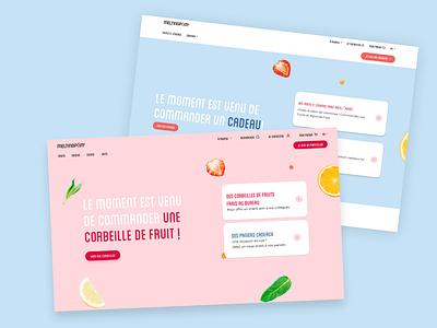 Melting Pom interfaces B2B vs B2C branding fruits fruit shopping shop ecommerce eshop figma interface ux switch button switch hero navigation homepage b2c dailyui