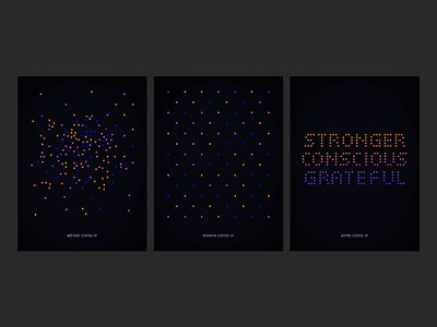 Before, During & After COVID-19 gratitude resilience covid-19 social distancing humans matrix dots color triptych poster