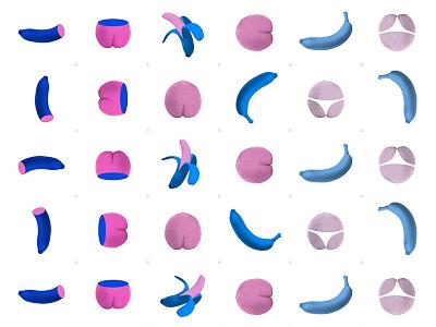Cheeky Fruit Pattern surrealism digital banana peach pattern