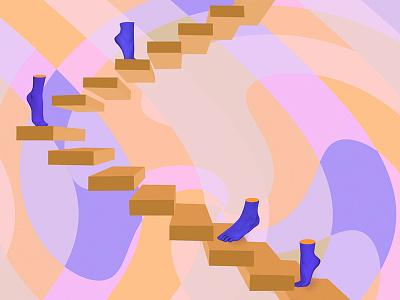 Quiet Walk humans color stairs feet illustration digital surrealism