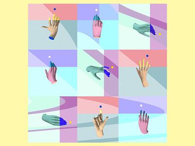 Surreal pattern explorations collage patterns humans hands color digital surrealism design