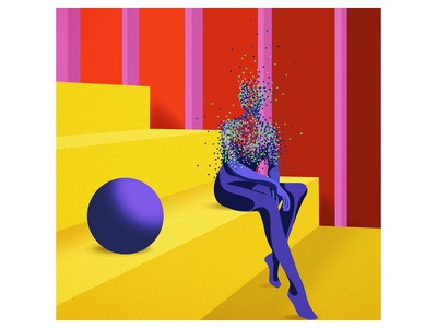 Digital illustration gradients texture dots humans color surrealism digital illustration