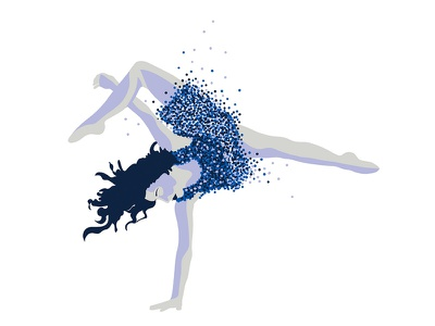 WIP emotion color light dots movement dance humans digital illustration
