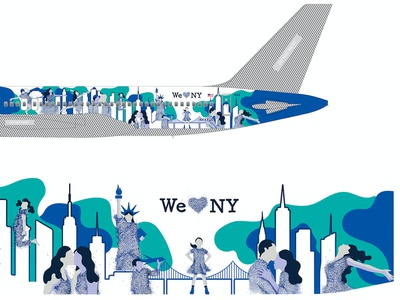 Digital Illustration - Boeing 757s blue sky connecting people texture symbols iconic fearless girl art movement happiness love freedom traveling new york dots color design humans digital illustration