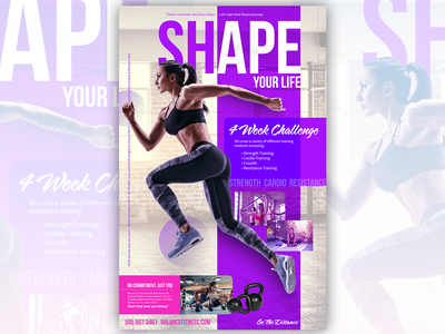 Shape Flyer for Gym Promotion workout layout gym flyer