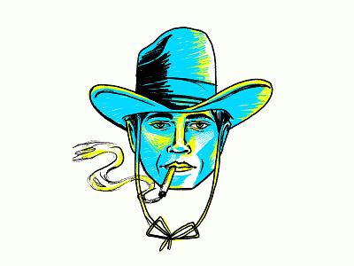 Cowboy fresco drawing hat smoke cowboy