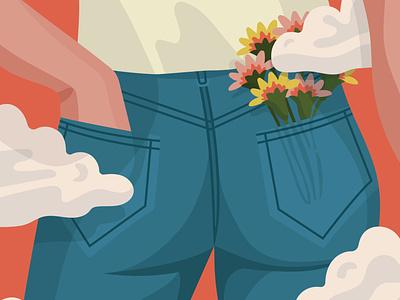 Flower Pocket clouds sky butt jeans flowers