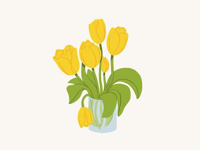 Yellow Tulips illustration art livestream tulips