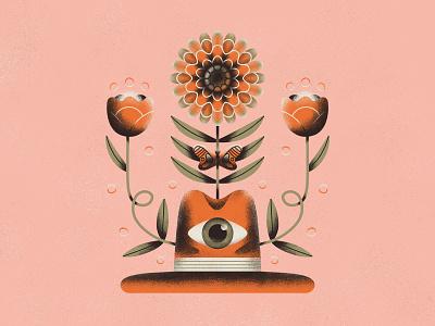 Hat Flowers - Texture Play eye flower photoshop fun hat texture