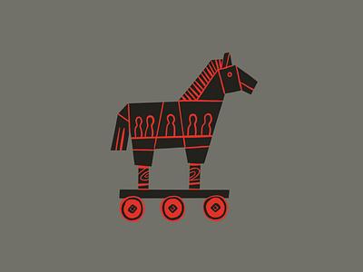 INKTOBER 16 - HORSE csinktober carra sykes inktober grey red black trojan horse horse