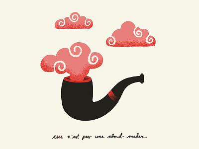 INKTOBER 23 - CLOUDS inktober magritte pipe clouds