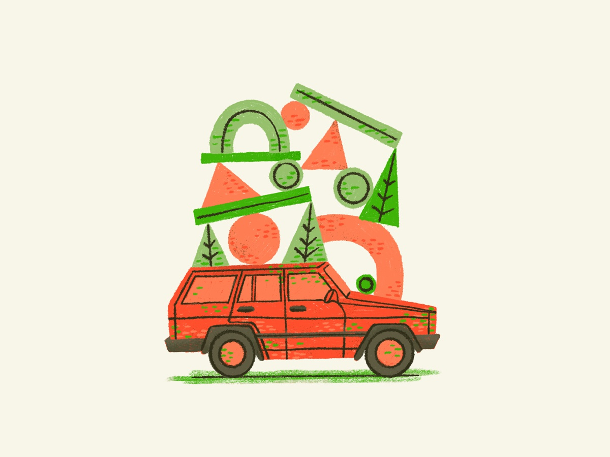 I Used to Drive a Jeep trees red green car jeep christmas