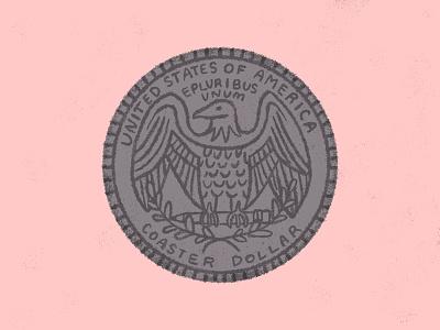 Quarter Coaster silver pink hand drawn sticker mule quarter dribbble