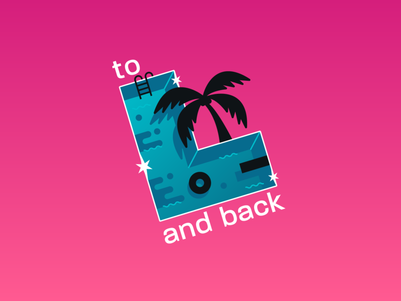To L and Back - Podcast Logo the palm tree pool logo lesbian gay lgbt the l word