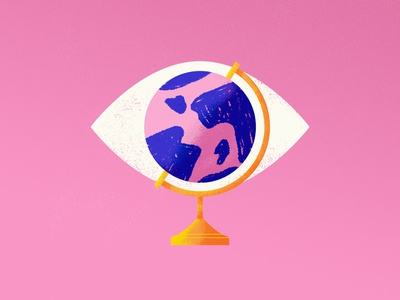 The World is Watching pink illustration eye earth world globe