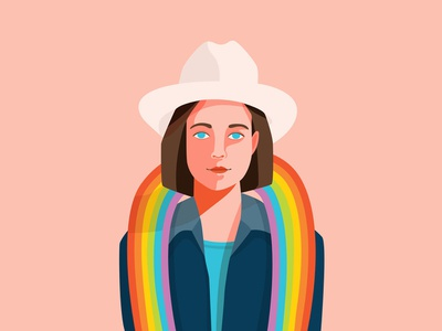 Pride Portrait for Adobe texas lesbian adobe adobe illustrator pride2019 lgbtq lgbt stetson hat rainbow gay pride