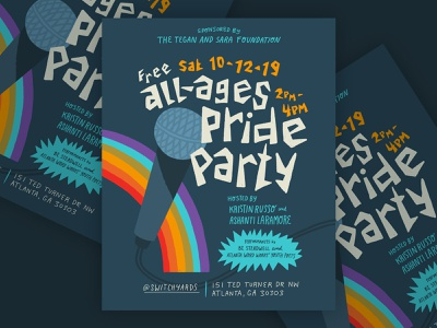 All-Ages Pride Party Atlanta microphone gay lgbtq lgbt rainbow party poster party pride atlanta