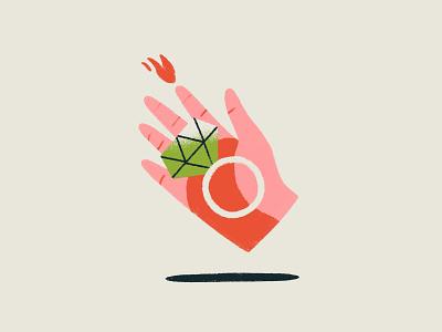 01 INKTOBER - RING pink inktober2019 fire illustration inktober hand ring