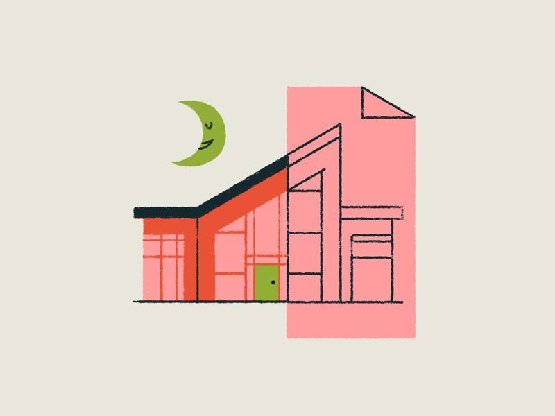 05 INKTOBER - BUILD inktober2019 moons houses midcentury modern house