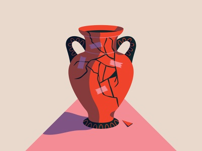 Cracked Pot - Revisited tape pottery cracked pot pot illustration