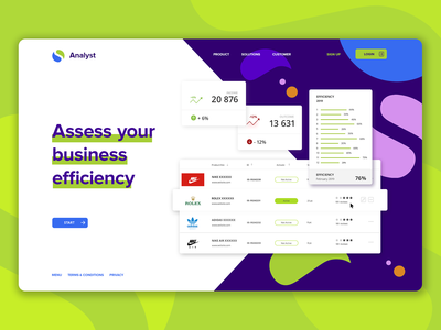 """Landing page """"Assess your business efficiency""""/UI component"""
