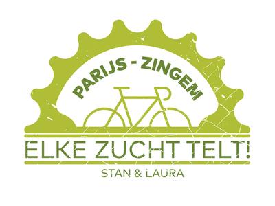 Logo Paris-Zingem for cystic fibrosis lungs bike dutch minimal lettering type flat web icon typography branding vector logo design illustration
