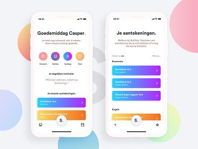 Schoolings app. web ux ui schoolings school responsive interface gradient dribbble design colorful clean card app