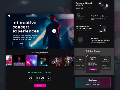 Interactive Concert Experience Website concert vector branding website web ux ui minimal design