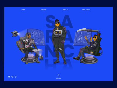 Characters for Sarancha agency men screens chair boots dark ui dark landing urban future hightech cyberpunk orange web blue design ui character digital art character design illustration