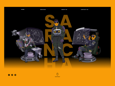 Characters for Sarancha agency character game design orange future ui landing landingpage cyber game 2dart illustration design character design casual games gameart games cyberpunk